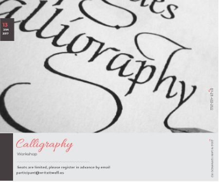 Plantilla de diseño de Calligraphy Workshop Announcement Letters on White Large Rectangle