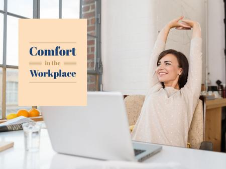 Ontwerpsjabloon van Presentation van Woman on comfortable workplace