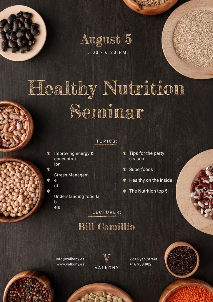 Seminar Annoucement with Healthy Nutrition Dishes on table Poster Design Template