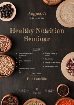 Seminar Annoucement with Healthy Nutrition Dishes on table