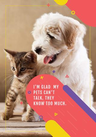 Modèle de visuel Citation about not talking pets - Poster