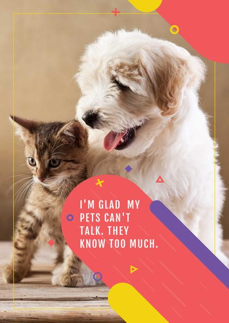 Template di design Citation about not talking pets Poster
