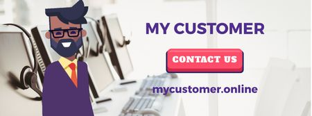 Customer Support Ad with Waving Businessman Facebook Video cover Tasarım Şablonu
