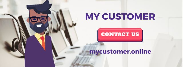 Modèle de visuel Customer Support Ad with Waving Businessman - Facebook Video cover