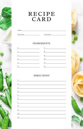 Ontwerpsjabloon van Recipe Card van Peas and Raw Pasta