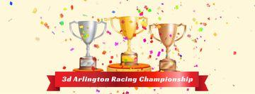 Confetti falling on trophy cups