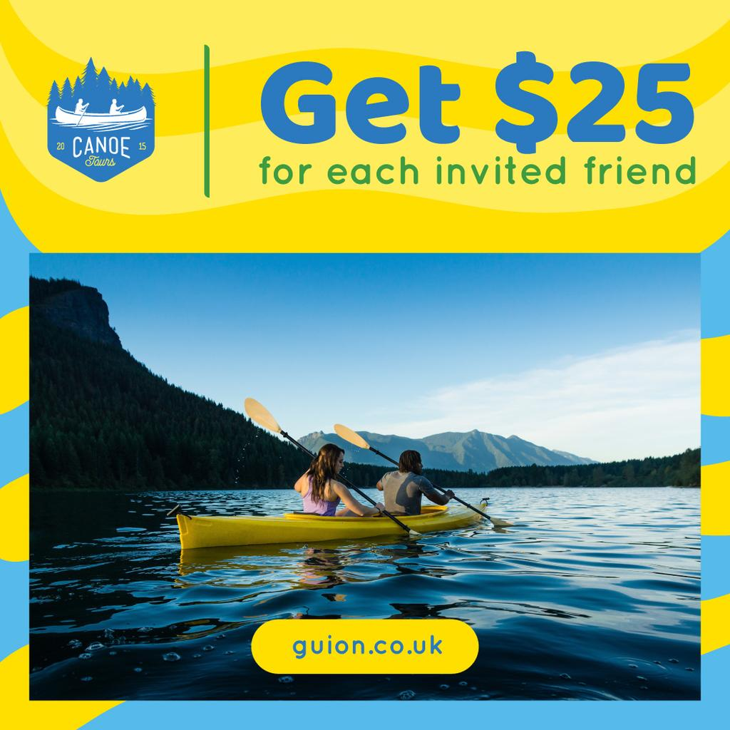 Template di design Kayaking Tour Invitation with People in Boat Instagram