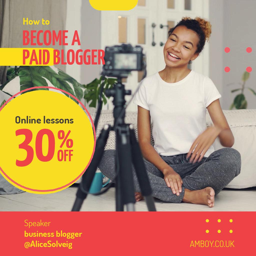 Woman Video Blogger Presenting by Camera — Modelo de projeto