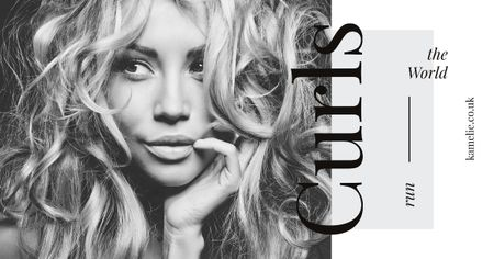 Plantilla de diseño de Curls Care Tips with Woman with Messy Hair Facebook AD