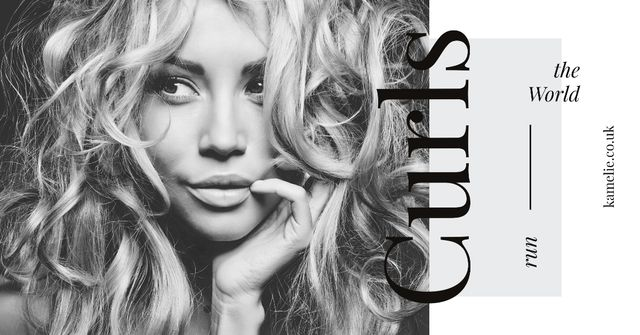 Szablon projektu Curls Care Tips with Woman with Messy Hair Facebook AD