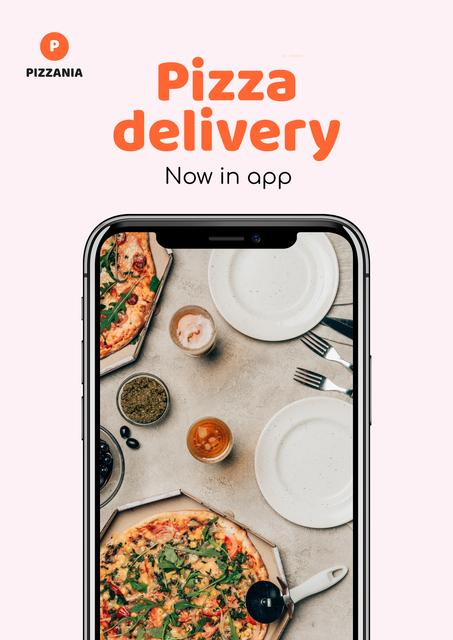 Delivery Services App offer with Pizza Poster Design Template