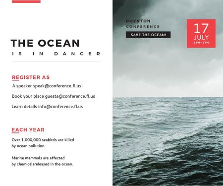 Ontwerpsjabloon van Medium Rectangle van Ecology Conference Invitation Stormy Sea Waves