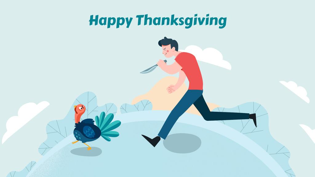 Man chasing turkey with knife — Créer un visuel