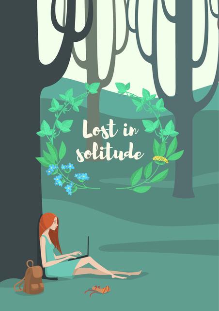 Plantilla de diseño de Lost in solitude illustration Poster