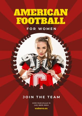 American Football Team Invitation with Girl in Uniform Poster Design Template