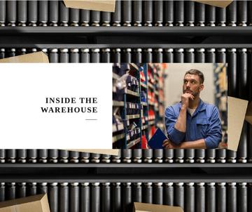 Warehouse Services Ad Thoughtful Worker by Containers | Facebook Post Template