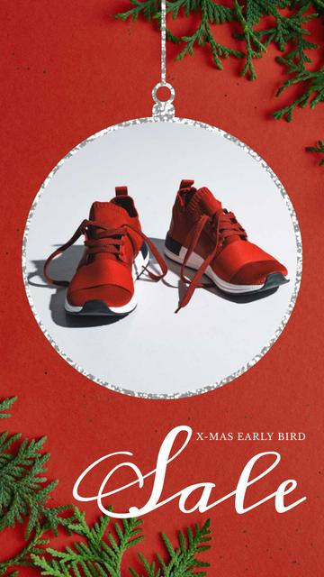 Plantilla de diseño de Xmas Offer Sport Shoes in Red Instagram Video Story