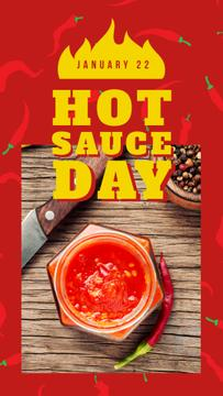 Hot chili sauce day on red
