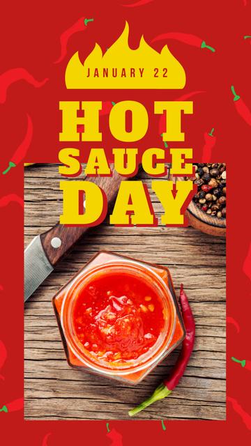 Ontwerpsjabloon van Instagram Story van Hot chili sauce day on red