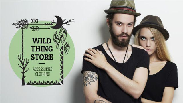 Szablon projektu Fashion Store Ad Young Couple in Black Outfits Title
