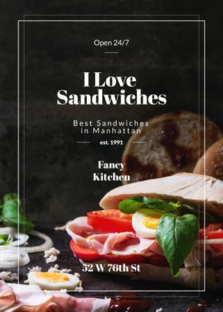 Restaurant Ad with Fresh Tasty Sandwiches Flayer Tasarım Şablonu