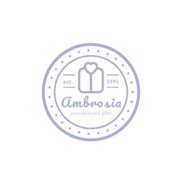 Gift Shop Ad Stamp Icon with Present | Logo Template