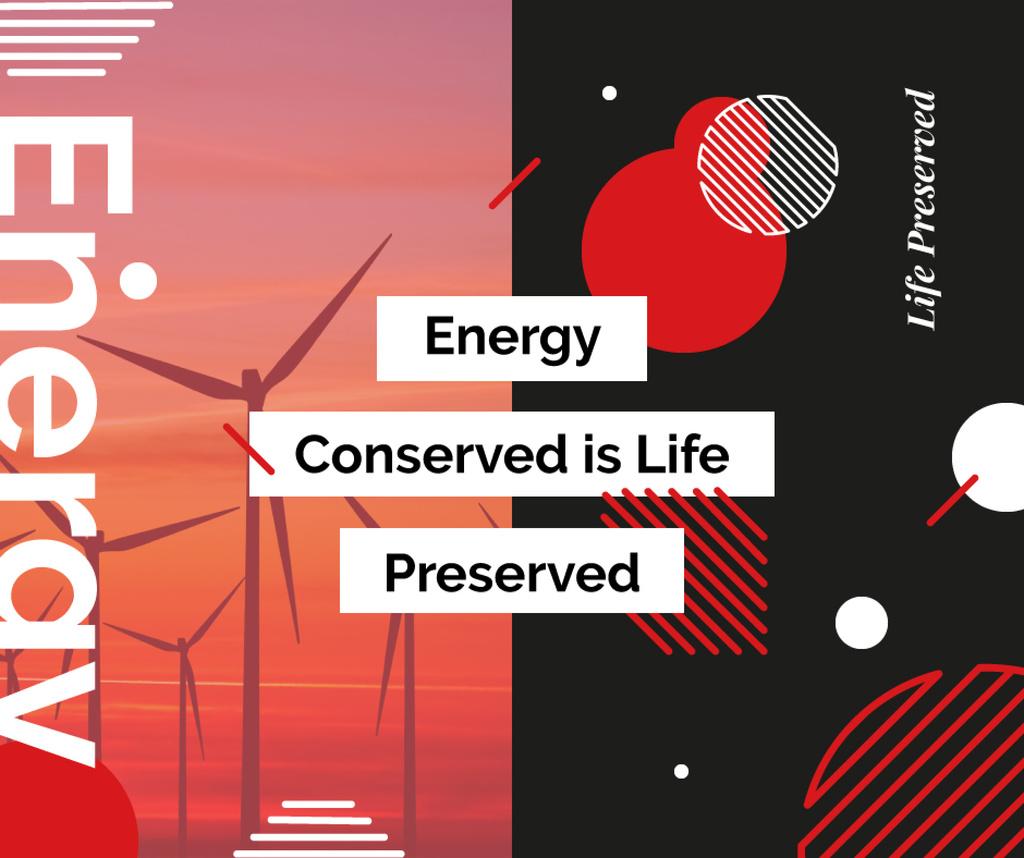 Wind turbines farm in red — Create a Design
