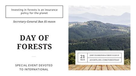 Template di design International Day of Forests Event Scenic Mountains Title