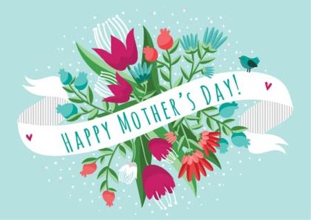 Mother's day greeting Card Design Template
