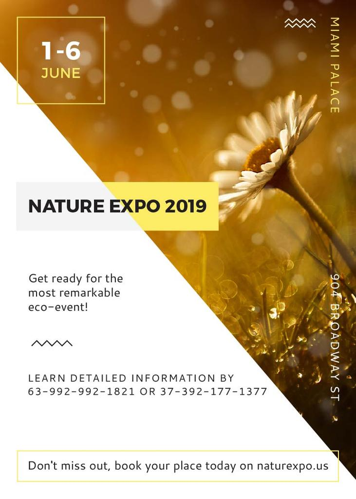 Nature Expo announcement Blooming Daisy Flower Invitation Modelo de Design