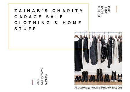 Charity Sale announcement Black Clothes on Hangers Postcardデザインテンプレート