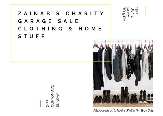 Charity Sale announcement Black Clothes on Hangers Postcard – шаблон для дизайну