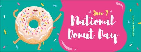 Sweet glazed donut Day Facebook cover Design Template