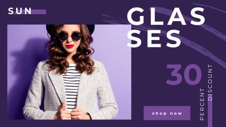 Glasses Offer Woman Wearing Sunglasses on Purple Full HD video Modelo de Design