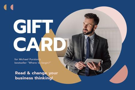 Plantilla de diseño de Business Book Offer with Man Wearing Suit Gift Certificate