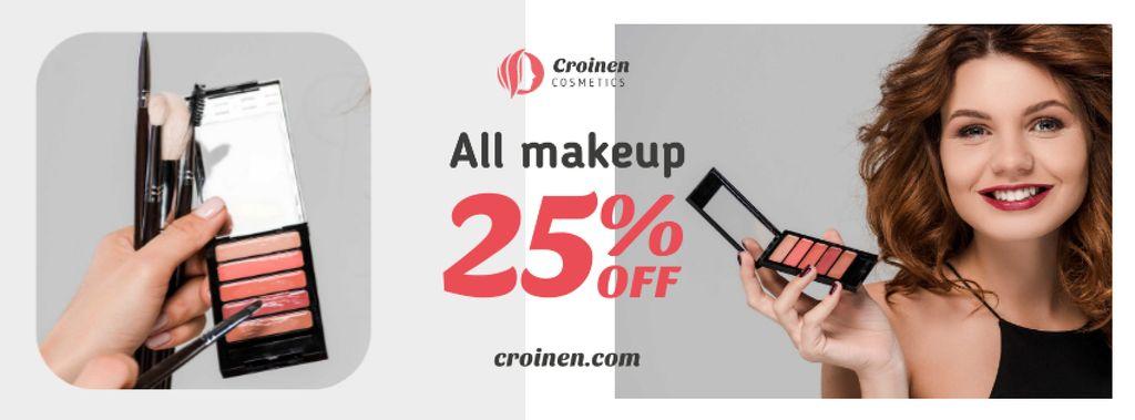 Cosmetics Sale with Beautician applying Makeup Facebook cover – шаблон для дизайна