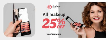 Plantilla de diseño de Cosmetics Sale with Beautician applying Makeup Facebook cover