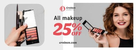 Cosmetics Sale with Beautician applying Makeup Facebook cover Modelo de Design