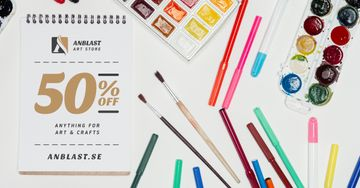 Art Supplies Sale Colorful Pencils and Paint