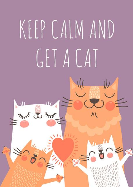 Ontwerpsjabloon van Invitation van Adoption inspiration Funny Cat family