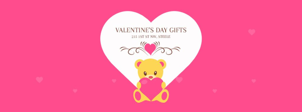 Pink Valentine's Card with Teddy Bear — Создать дизайн