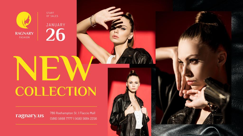 Fashion Ad Woman in Leather Jacket — Modelo de projeto