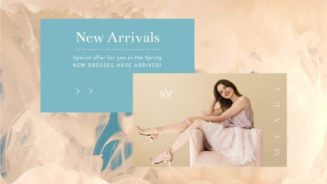 Young woman wearing light clothes Full HD video Design Template
