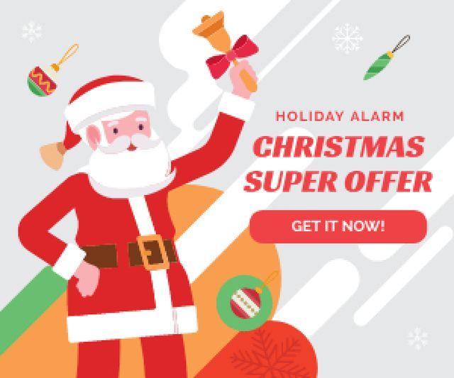 Plantilla de diseño de Christmas Holiday Offer Santa Holding Bell Medium Rectangle