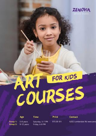 Designvorlage Painting Courses with Girl Holding Brush für Poster