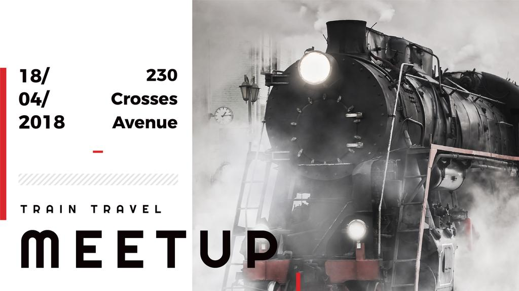 train travel meet up background with steam engine train — Create a Design