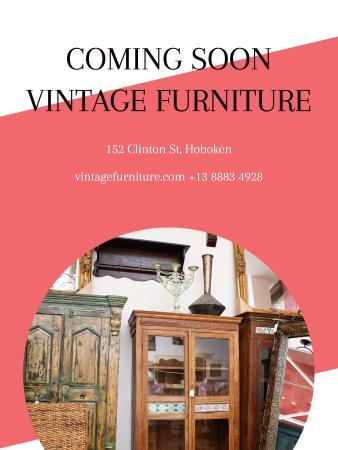 Plantilla de diseño de Vintage Furniture Shop Ad Antique Cupboard Poster US