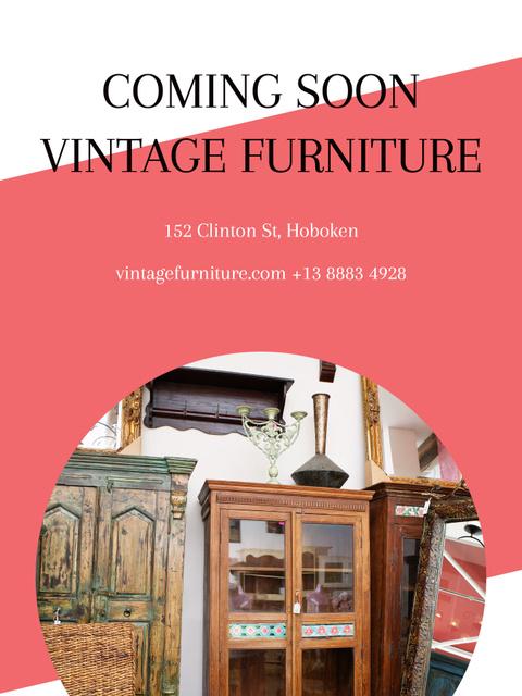 Vintage Furniture Shop Ad Antique Cupboard Poster US Modelo de Design