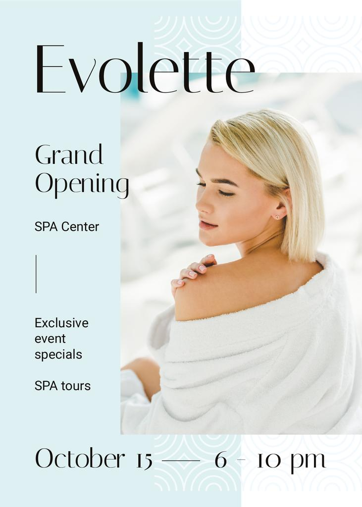 Grand Opening Announcement Woman Relaxing in Spa — Crea un design