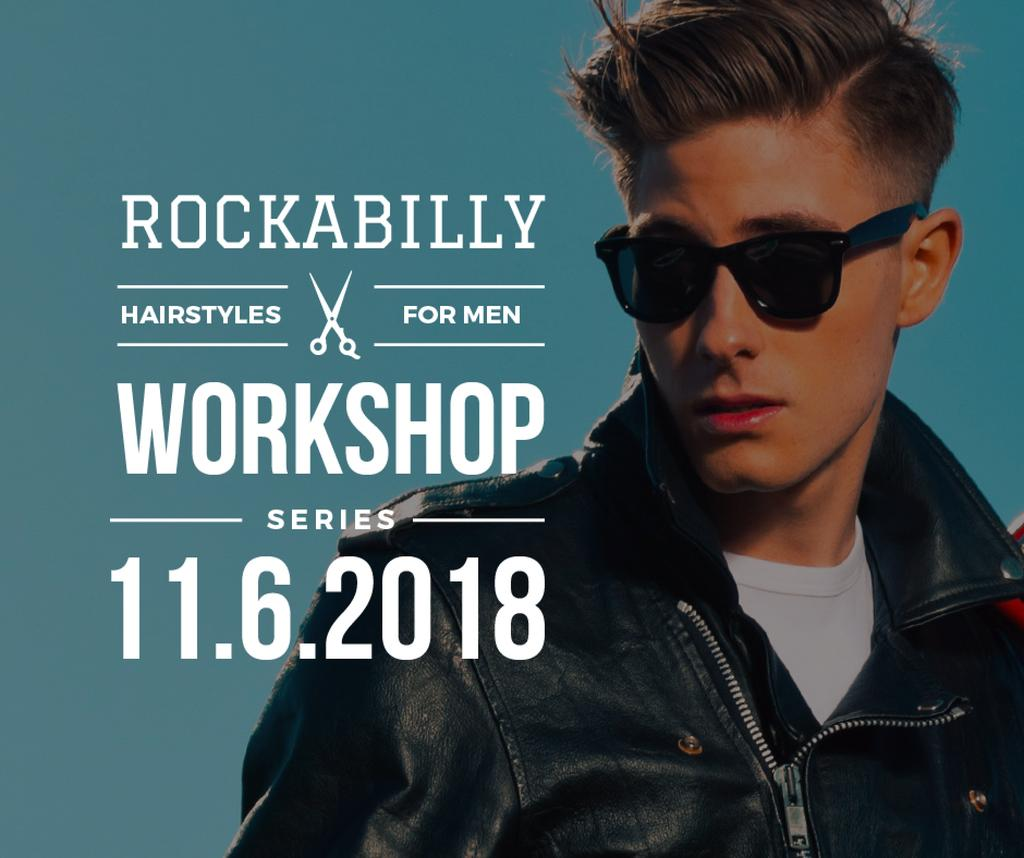 Rockabilly hairstyles workshop poster — Modelo de projeto